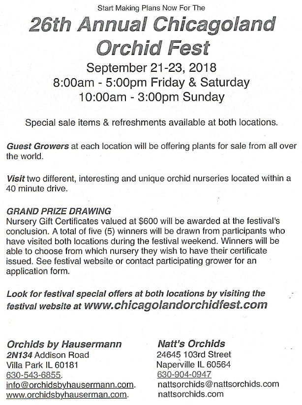2018 Chicagoland Orchid Fest from September 21-28